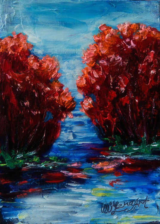 Red Trees (Palette Knife) - Image 0