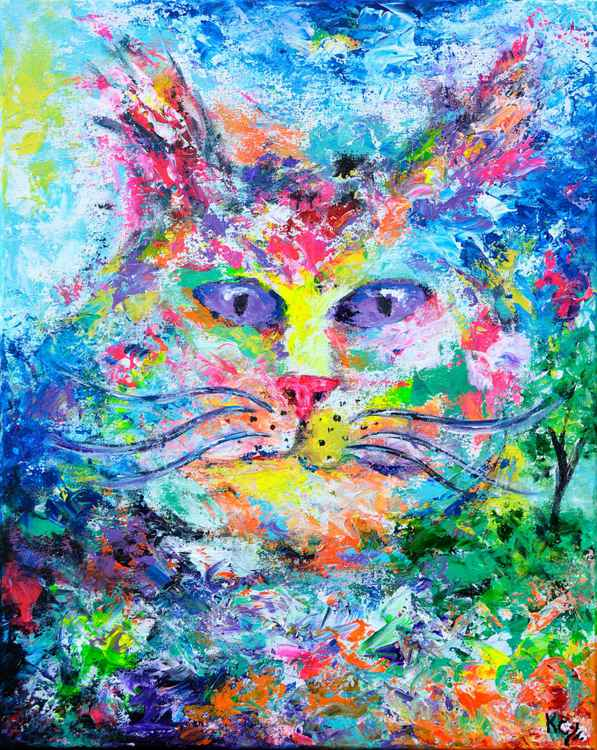 Cat Yearning for the Outdoors - Cat Art, Cat Painting, Acrylic on Canvas -