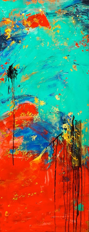 """Abstract acrylic painting 16""""x40"""" - Image 0"""