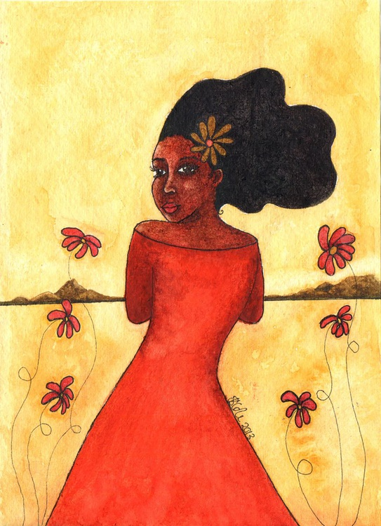 'Walking In Spring' Original Watercolour Painting on Khadi Paper - Image 0