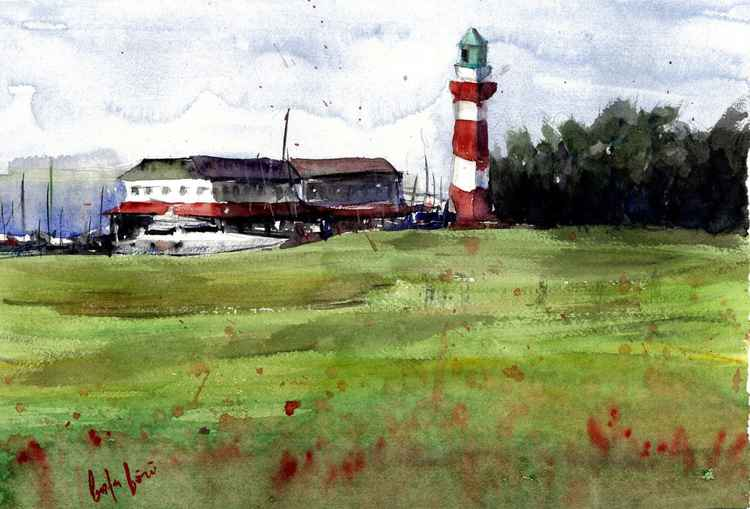 hilton head, south carolina lighthouse watercolor painting -