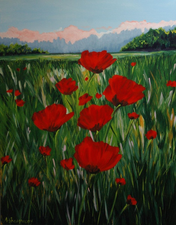 Red Poppies Large Painting - Image 0