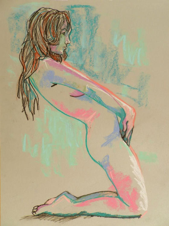 Female Nude Art Figure Study Original Pastel Charcoal Life Drawing - Image 0