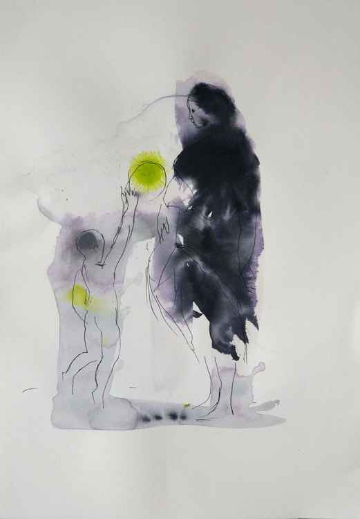 Mother and child playing with a ball, 29x42 cm