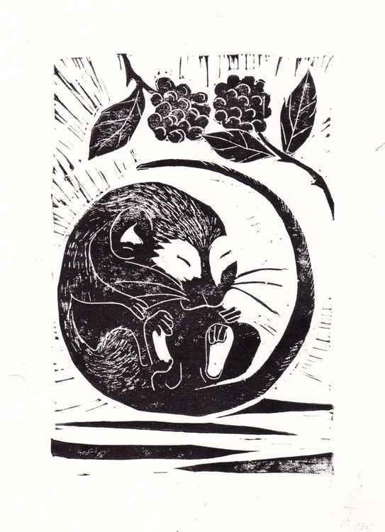 Dormouse with blackberries