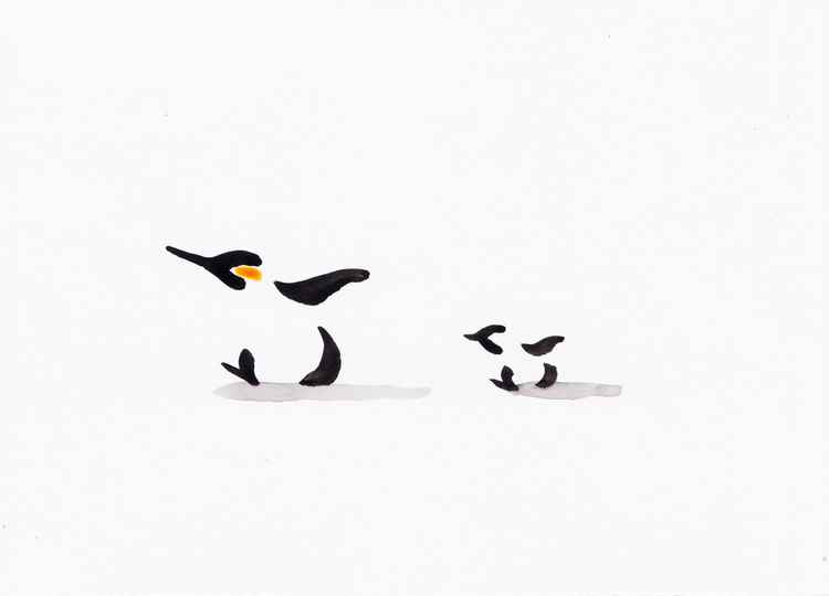 Penguin and a chick 2115B