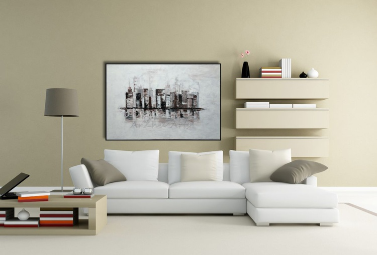Large Brown and White Cityscape,  Building Abstract Art on Canvas, Original Acrylic Painting, City Skyline Art - Image 0