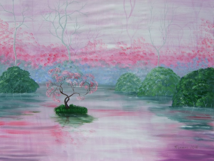 Rose lake spring cherry blossom tree Sakura Large painting 120x160 cm unstretched canvas art by artist Ksavera - Image 0