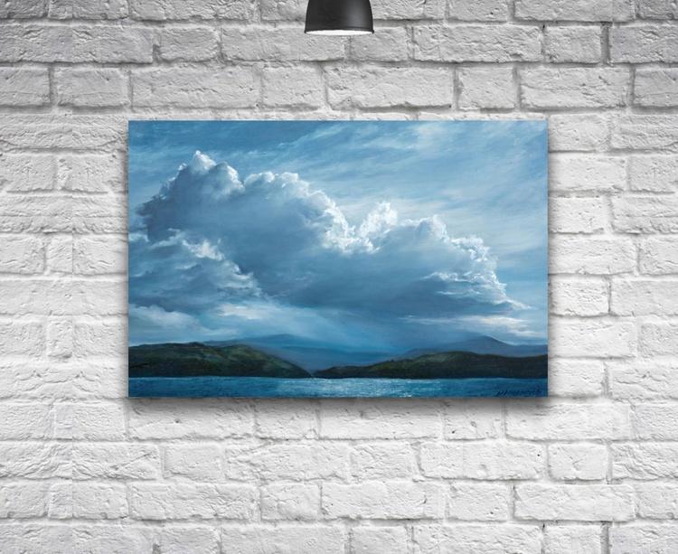 Original artwork Lakeview, Landscape, cloudscape, clouds - Image 0