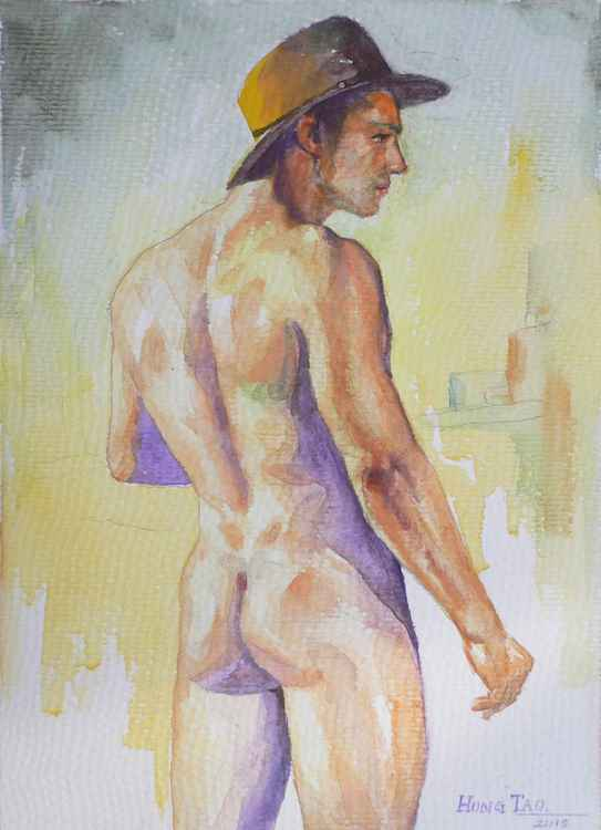 original art watercolour painting  cowboy of male nude on paper #16-4-25-01 -