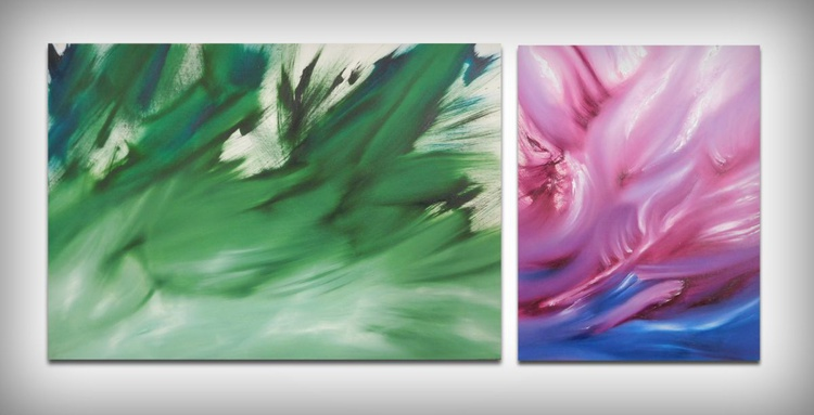 The concept and the expression, diptych, two paintings - Image 0