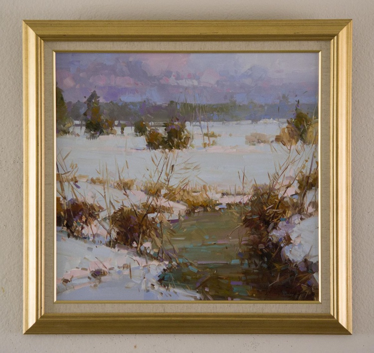Winter Landscape  Original oil painting  Handmade artwork Framed Ready to Hang One of a kind - Image 0
