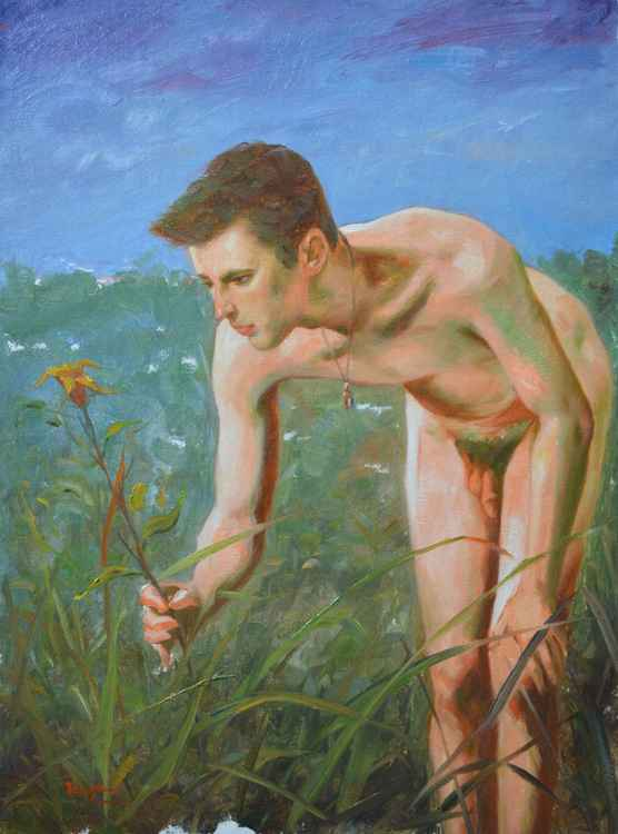 original artoil painting  male nude young  in the  grass  on linen #16-5-12-01