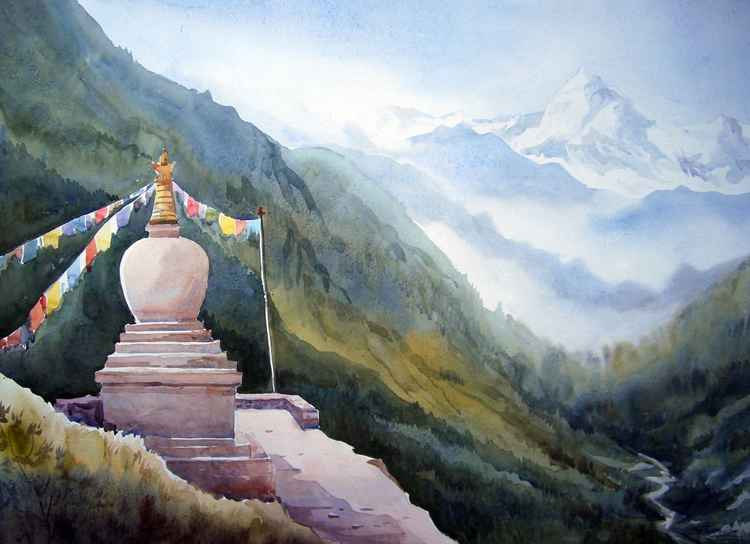 Buddhist Jung in Himalaya-Watercolor on Paper -