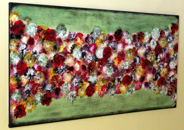 "Vintage Springs #7 - large original abstract painting, 46""x 24"" vintage home decor - Image 0"