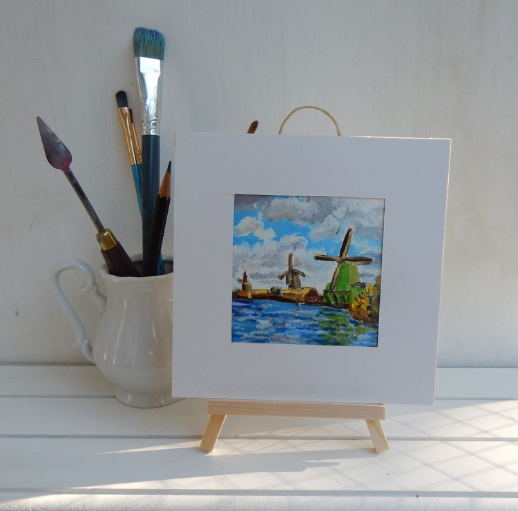 Wind mills (5) in Zaanse Schance. Holland. Landscape Miniature. Easel is included. Gift painting. Ready to hang. - Image 0