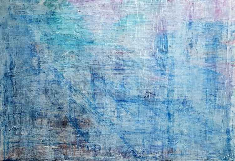 Senza Titolo 190 - abstract landscape - 90 x 60 x 2,50 cm - ready to hang - acrylic painting on stretched canvas