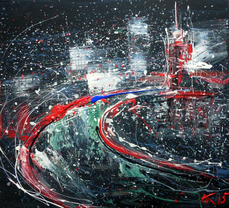 The City At Nigh, large painting, 105x95 cm - Image 0