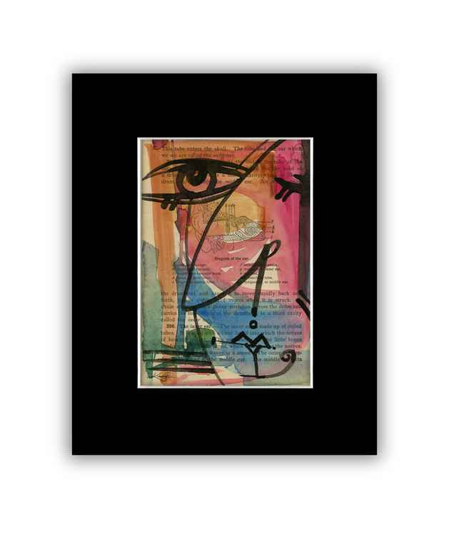 """I See 39"" on Antique Book Page - Abstract Watercolor Painting -"