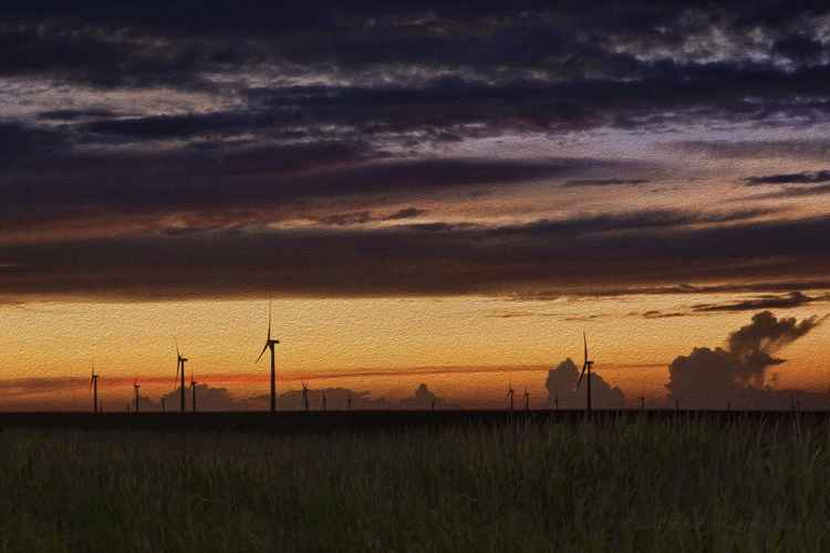 Rural Wind Farm after Sunset -