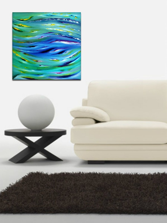 Color therapy - 50x50 cm,  Original abstract painting, oil on canvas - Image 0