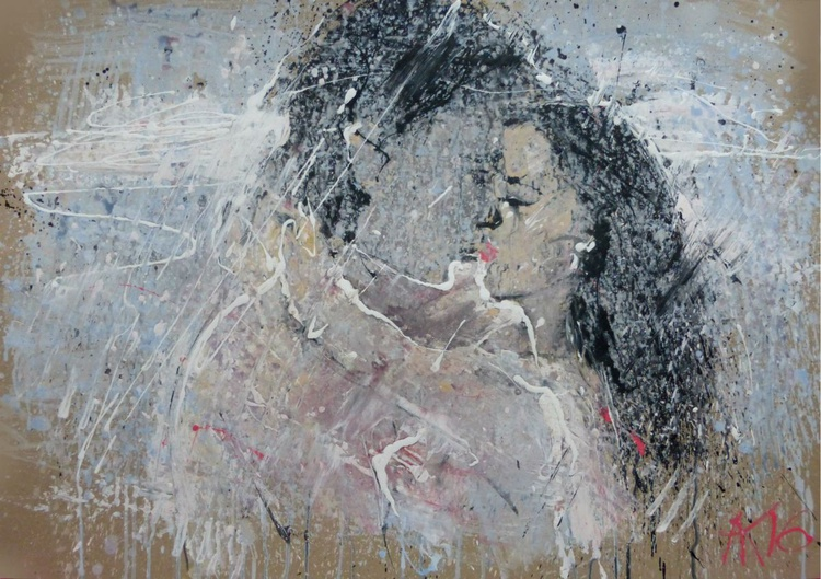 Kiss, large painting 100x70 cm - Image 0