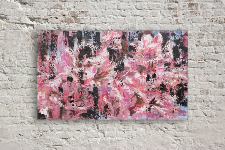 Original artwork Peonies, black and pink, flowers - Image 0