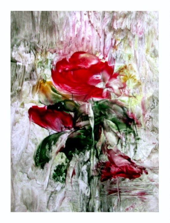 """Rainy Day Rose"" Encaustic (hot wax) painting 12x16 - Image 0"