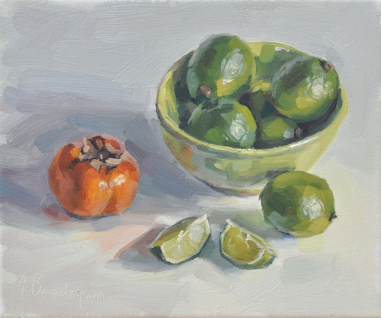 Limes in a bowl and persimmon - Image 0