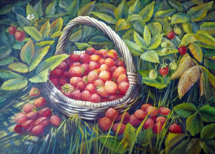 Basket with Strawberries - Image 0