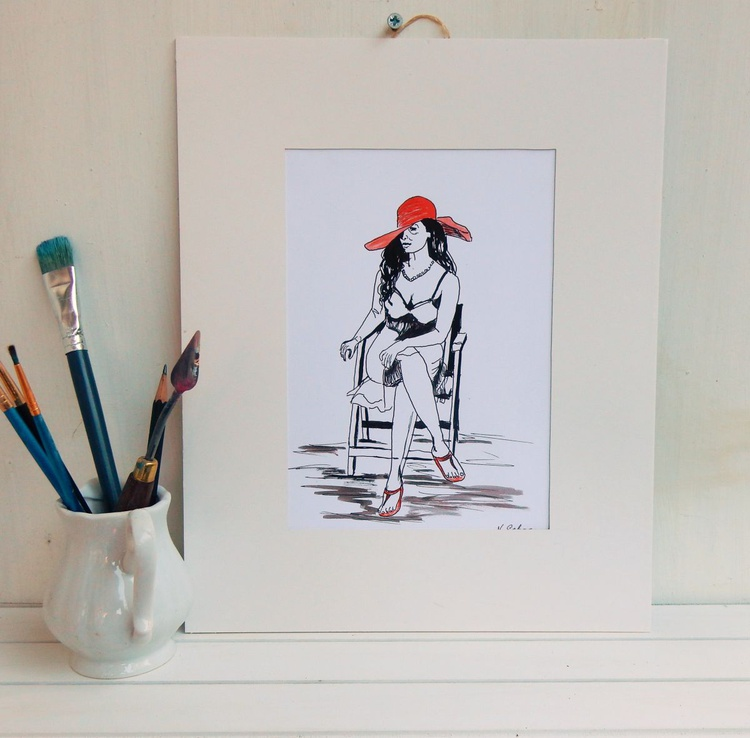 Woman in a red hat, sitting on a chair. Black and White drawing. Ready to hang. - Image 0