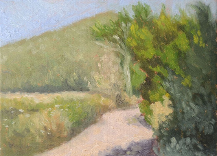The Road Around the Villa n.2 Umbria Italy Plein Air Oil Landscape Painting - Image 0