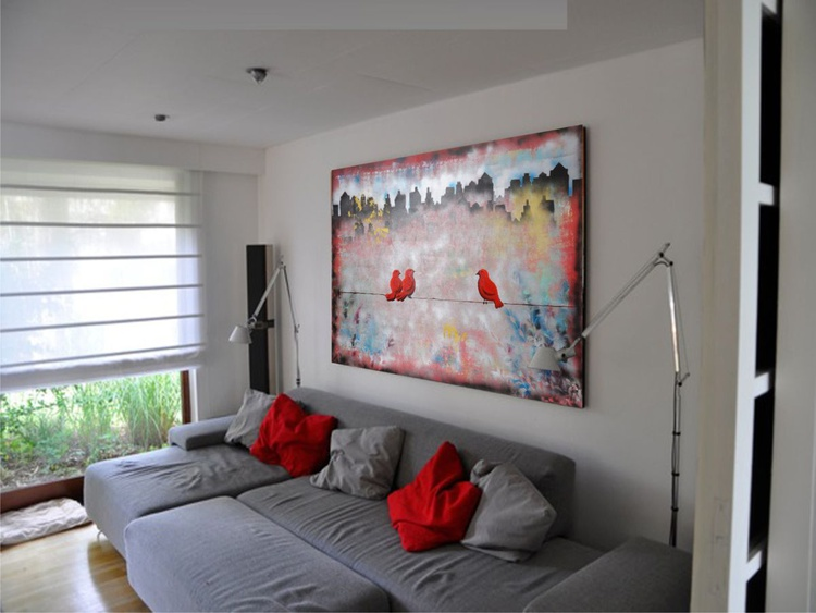 3 Red birds on a wire in cityscape Large abstract painting 110x160 cm unstretched canvas red original art by artist Ksavera - Image 0