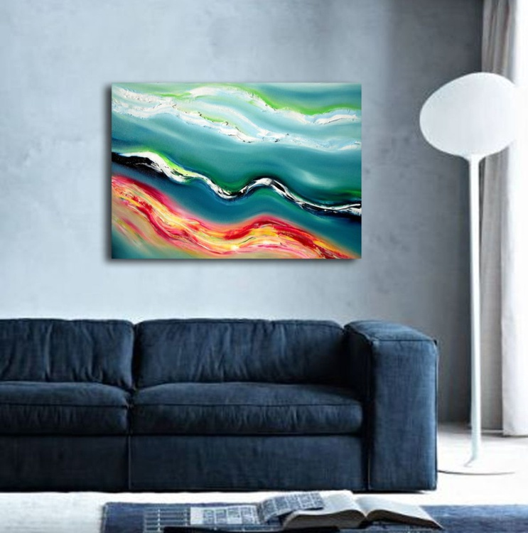 Deep blue river - 70x50 cm,  Original abstract painting, oil on canvas - Image 0