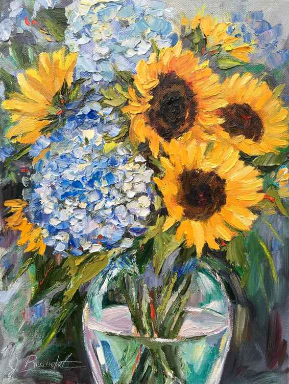 Sunflowers and Hydrangea