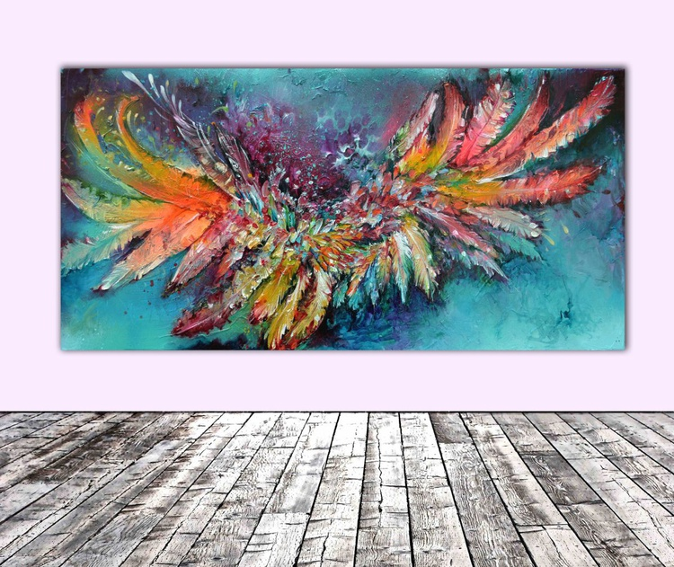 The Audacity - Big, FREE SHIPPING, Large Modern Ready to Hang Abstract Feathers Painting - Image 0