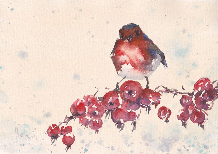 Robin & Winter Berry /Framed/Ready to hang/ - Image 0