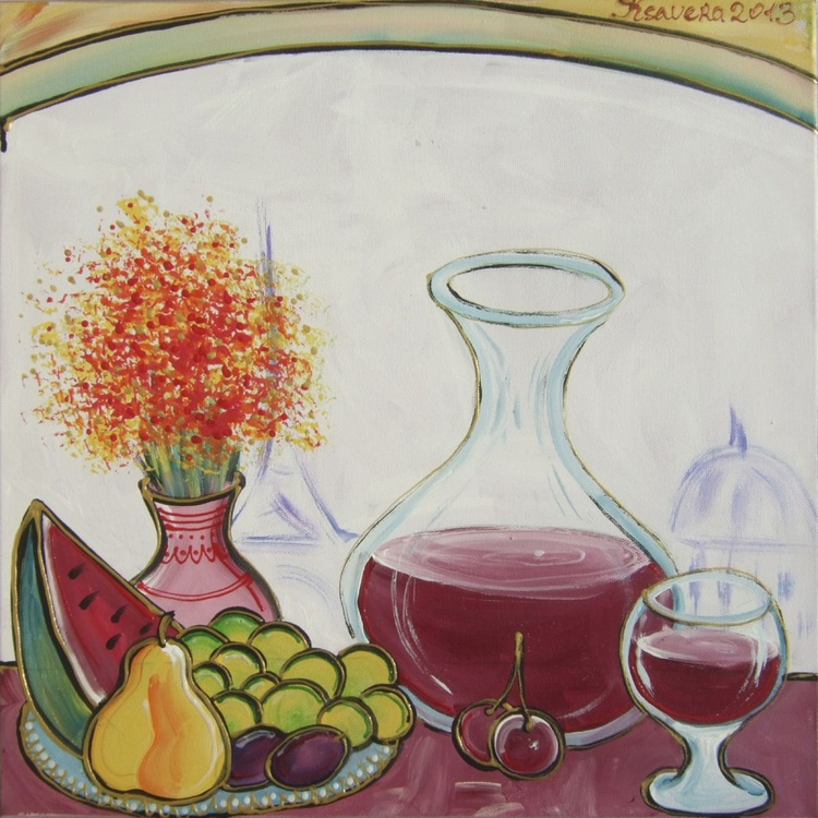 Still life with wine 40x40 cm n17 acrylic on stretched canvas wall art by artist Ksavera - Image 0