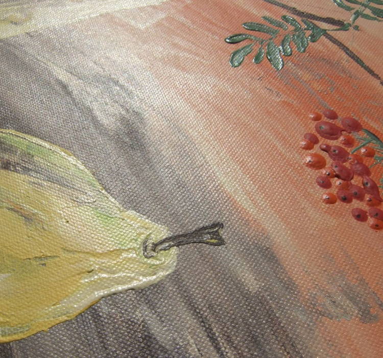 Still life 18 palette knife painting pear quince Rowan decor original floral art 40x40x2 cm acrylic on stretched canvas orange wall art by artist Ksavera - Image 0