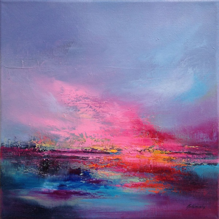 Love is in the Air - 40 x 40 cm, abstract landscape oil painting, turquoise, orange, pink - Image 0