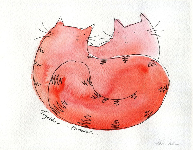Together Forever... 2 Cats    Original Watercolour - Image 0