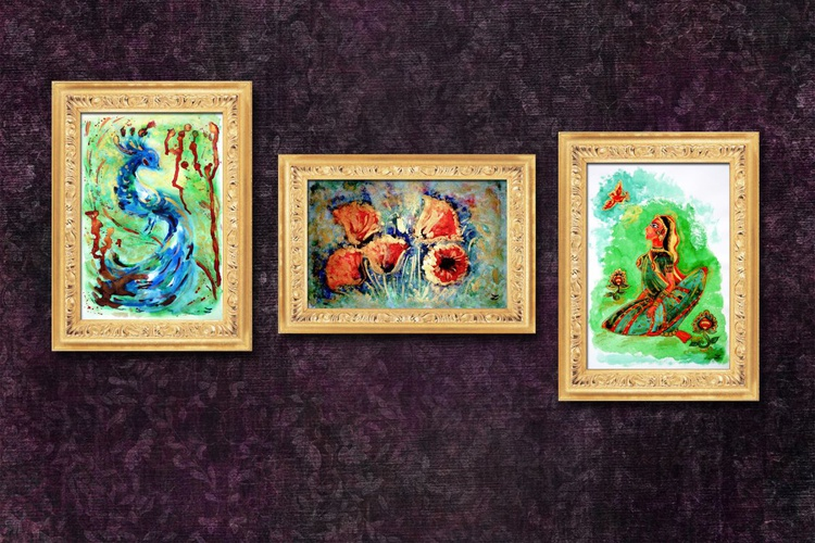 Golden Trio. Set of three paintings - Image 0