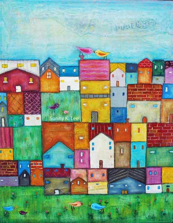 Town and Birds - Image 0