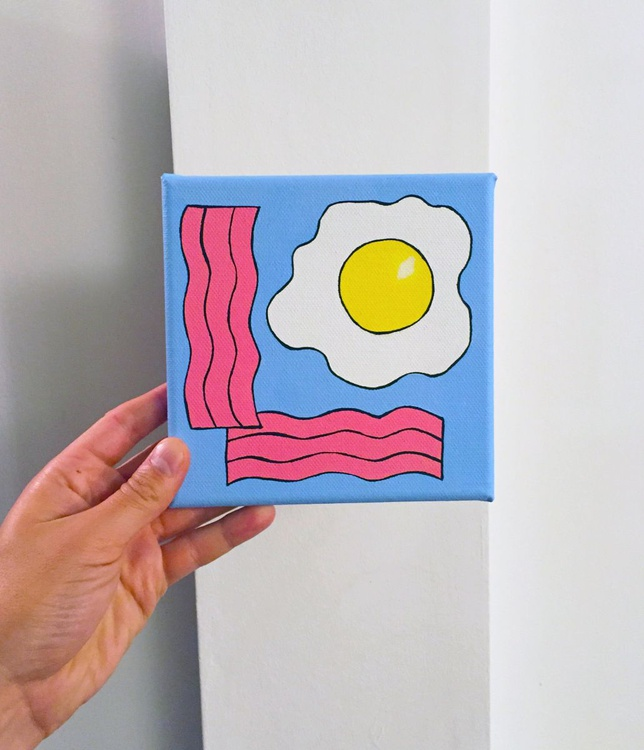 Fried Egg And Bacon Pop Art Painting Canvas - Image 0