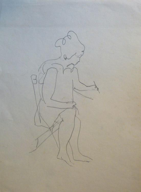 Woman writing, pencil sketch, 21x28 cm - Image 0