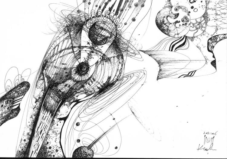 COSMIC VIBRATING LINES ETERNITY STILL LIFE ONIRIC BIZZARE ART SIGNED BY MASTER KLOSKA AFORDABLE ORIGINAL INK ON PAPER - Image 0