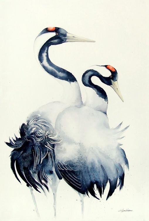 Common Cranes,  bird, birds, animals, wildlife watercolour painting - Image 0