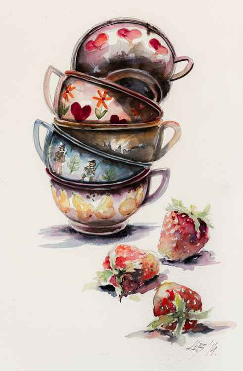 Cups and strawberries -