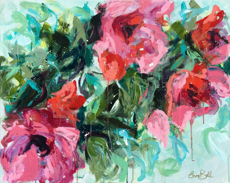 """Pink in Bloom - Abstract floral in acrylic size 24""""x30"""" - Image 0"""