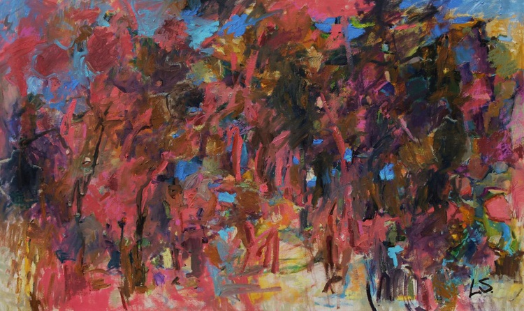 Scandinavian Dream-Large Expressive Abstract Painting 60x37 inches - Image 0